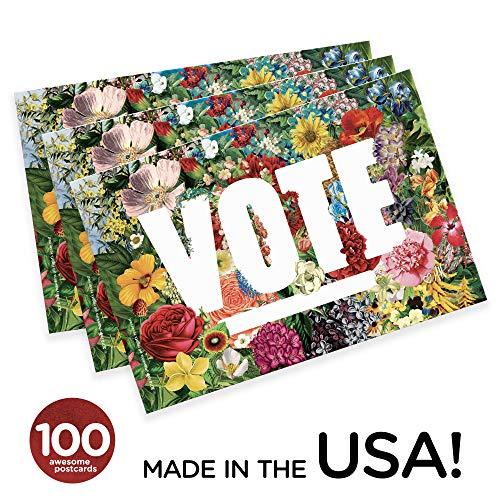 """State Flowers""""Vote"""" Postcards. Perfect for Writing to Your Representatives or Get Out the Vote Campaigns like Postcards to Voters (100)"""