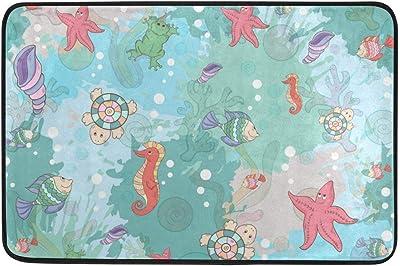 Abstract Marine Life On Blots Doormat, Entry Way Indoor Outdoor Door Rug with Non Slip Backing, (23.6 x 15.7-Inch)