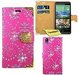 HTC Desire 816 Hülle, FoneExpert® Bling Luxus Diamant Hülle Wallet Hülle Cover Hüllen Etui Ledertasche Premium Lederhülle Schutzhülle für HTC Desire 816 + Bildschirmschutzfolie (Rosa)