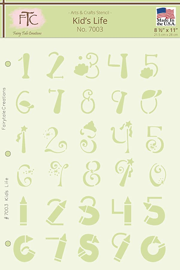 Fairytale Creations Kid's Life Number Alphabet Stencil, 8-1/2