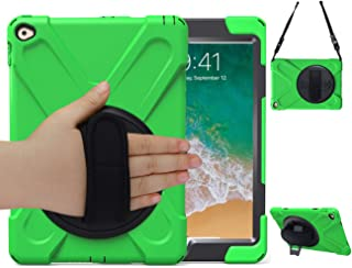 iPad Air 2 Case 2014 with Stand,iPad Case A1566/A1567 TSQ 3 Layers Shockproof Dropproof Hybrid Hard Rugged Protective Case with Kicktand+Hand Handle Strap+Shoulder Strap for iPad Air 2 9.7 Inch,Green