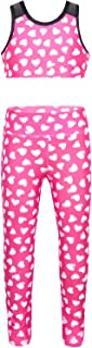 moily Big Girls Two Piece Athletic Outfit Sweetheart Racer Back Top with Leggings for Gymnastics/Dance/Sports