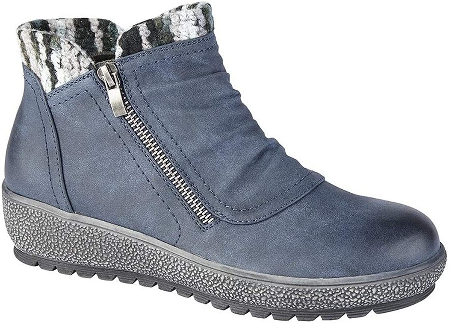 Cipriata Womens Ladies Gina Knitted Collar Ankle Boot