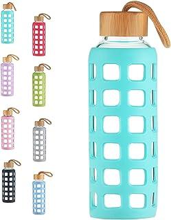 ORYX 5075055 Botella Agua de Cristal con Funda Goma y Tap/ón An Plateado