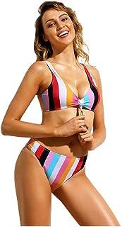 LYL 女性のための水着ローカットストライプネクタイ装飾とパターンミッドウエストビキニ媚薬ビキニ (色 : Multi-colored Stripes, サイズ : L)
