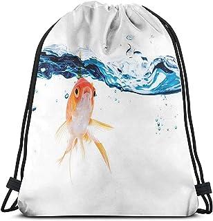 Bolsa de cordón con cordón,mochila de pesca dorada, natación bajo la superficie de agua transparente, pecera líquida,movimiento abstracto,bolsa de viaje,bolsa de gimnasio,bolsa de deporte cinch Pack
