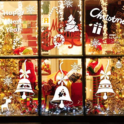 Pegatinas de Navidad, EKKONG Pegatina de Ventana Autoadhesiva, navidad decoracion, pegatinas de pared calcomanías de ventanas DIY Escaparate, Tienda, Oficina (2 hojas X 30 * 43cm) (Campana de navidad)