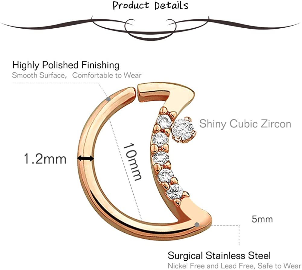 AceFun 5Pcs Daith Rook Piercing Earrings 16G Surgical Steel Heart Shaped Closure Rings Curved Bar Barbell with Opal Zircon Turquoise Daith Cartilage Helix Earrings for Women