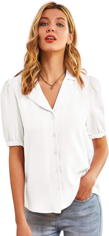 GRACE KARIN Mujer Camisa Retro de Mangas Cortas Abullonadas con Escote Pico
