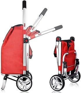 Carrito de compra plegable de 2 ruedas, Carrito de aleación de aluminio Carrito con ruedas Rodamientos Rojo