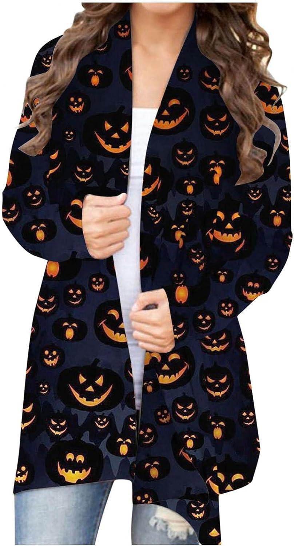 Masbird Halloween Cardigan for Women, Womens Cute Open Front Pumpkin Ghost Graphic Tops Long Sleeve Lightweight Coat