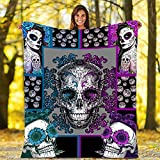Throw Blankets Purple Sugar Skull Flannel Fleece Throw Blanket Warm Soft TV Bed Couch Movie Watching Blanket for Kids Adults Soft Sherpa Blanket and Throws for All Seasons 50'x40'