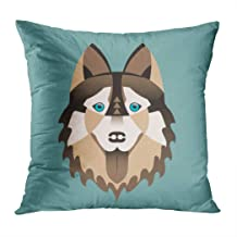 Meofo Throw Pillow Cover Flat Stylish Dog Portraitof Husky Beautiful Blue Eyed Breed Cartoon Decorative Polyester Soft Pillowcase for Sofa Office Cushion Bedroom Car Square 16 x 16 Inch