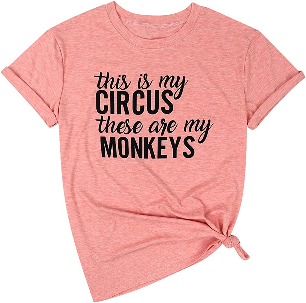 Dresswel Women This is My Circus These are My Monkeys T-Shirt Mom Life Graphic Tee Pocket Shirt Casual Tops