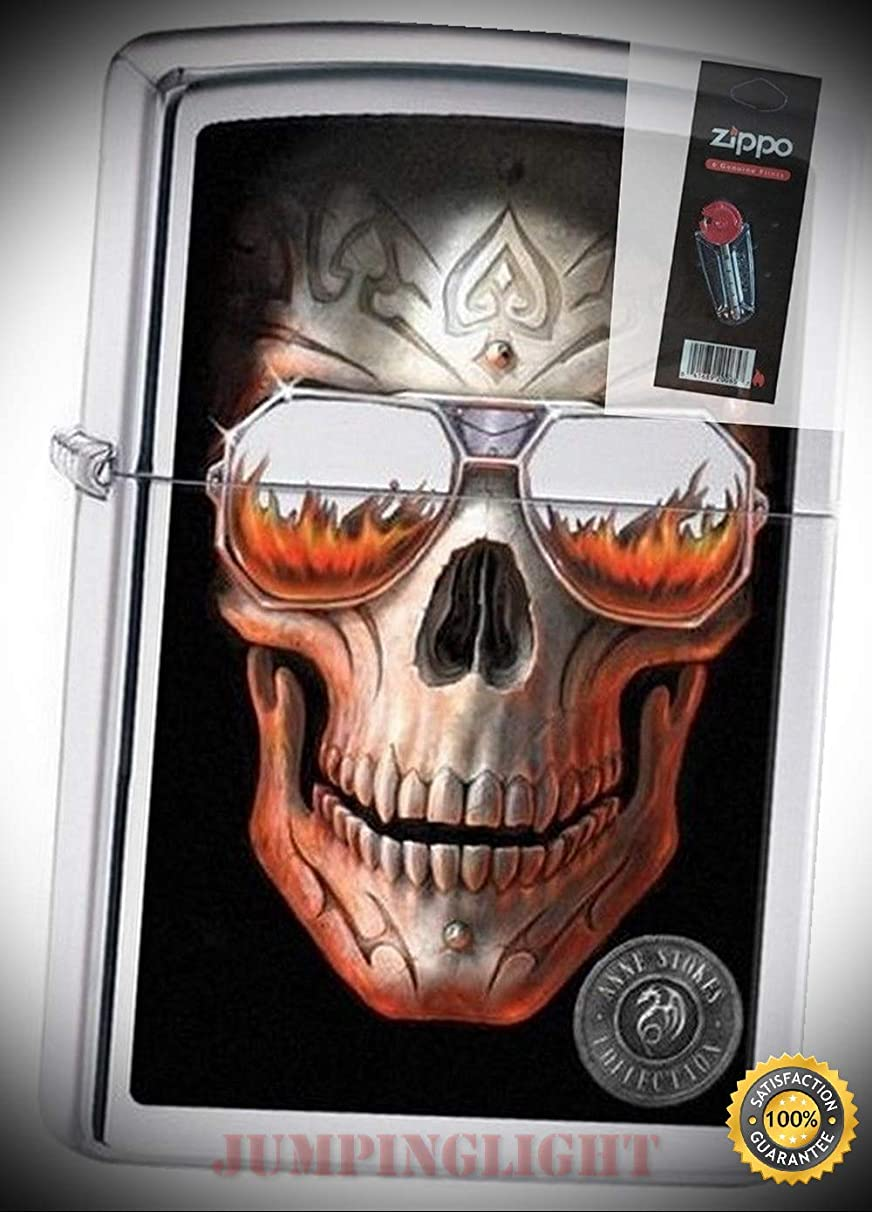 29108 Anne Stokes-Skull & Sunglasses Polish Chrome Lighter with Flint Pack - Premium Lighter Fluid (Comes Unfilled) - Made in USA!