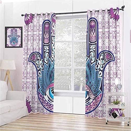 Waple Cortinas opacas ojete para sala de estar Mano de piedra de protección de ojo malvado judío púrpura de Fátima 150*166cm Cortinas Opacas de Salón Dormitorio 3D Cortinas Termicas Aislantes
