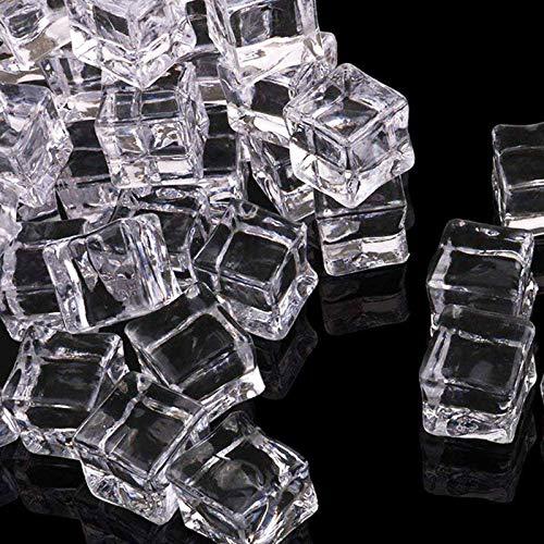 Cubitos de Hielo Acrílicos Cubitos Hielo Plástico forma Cuadrada Cubo de Hielo Artificial Fotografía Cubitos de Hielo Falsos Cubitos de Hielo para la Decoración del Hogar Bodas Jarrones Fotogr