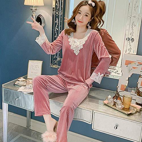 FSJE Pijama Set Traje de Pijama para Mujer Invierno Grueso con Cuello en V Color cálido y Suelto Pijama para Mujer Traje Love Girl Pantalones
