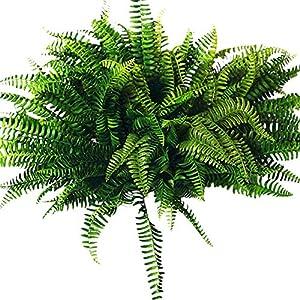 Tiamu 10Pcs Artificial Boston Fern Bush Silk Plant Hanging Fake Greenery Home Decor