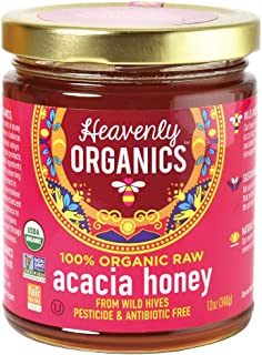 Heavenly Organics 100% Organic Raw Acacia Honey (12oz) Lightly Filtered to Preserve Vitamins, Minerals and Enzymes, Made f...