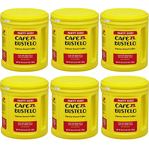Cafe Bustelo Espresso Ground Coffee Party Size ,36oz (6 PACK)