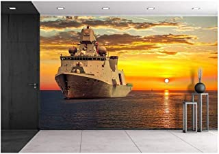 wall26 - The Military Ship on Sea at Sunrise. - Removable Wall Mural | Self-Adhesive Large Wallpaper - 66x96 inches