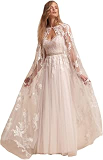 Stylish Tulle Cape Veil Cathedral Length Lace From Shoulder to Floor For Bridal
