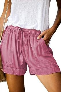 Newchoice Women's Drawstring Elastic Waist Casual Shorts with Pockets