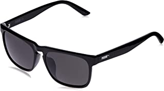 Puma Men's PU0167S PU0167SA-001 56 Rectangular Sunglasses, Black, 56 mm