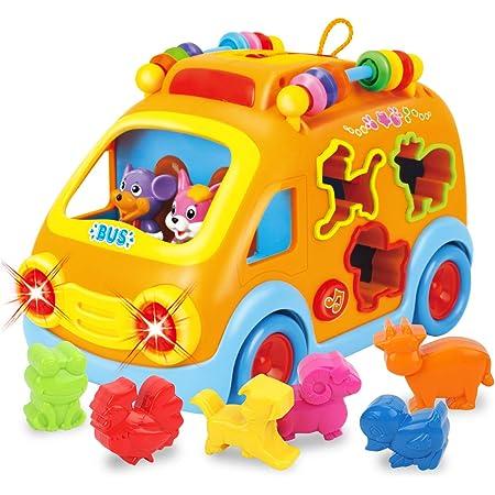 GILOBABY 多機能 音楽バス 赤ちゃん おもちゃ 車 おもちゃ 音と光と 早期開発 指先訓練 聴覚発達 色認知 動物認知 知育玩具 おもちゃ 男の子 おもちゃ 女の子 出産祝い 入園祝い 誕生日 プレゼント クリスマスプレゼント