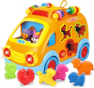 REMOKING Baby Electronic Musical Bus Toys with Lights & Music,Shape Color Sorter,Rotating Gear,Early Development, Learning...