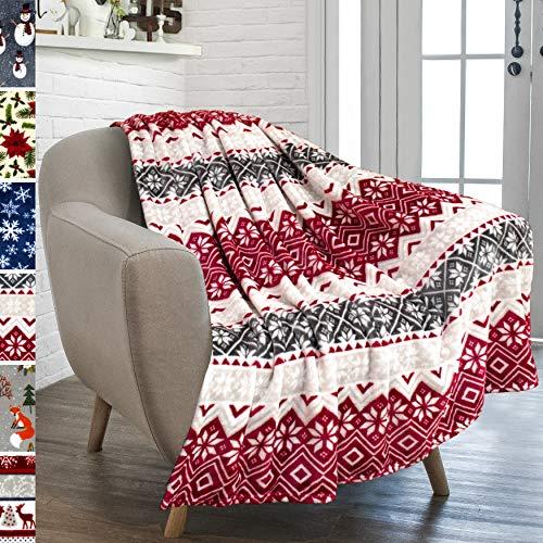 PAVILIA Christmas Throw Blanket | Holiday Christmas Red Fleece Blanket | Soft, Plush, Warm Winter Cabin Throw, 50x60 (Red Snowflakes)