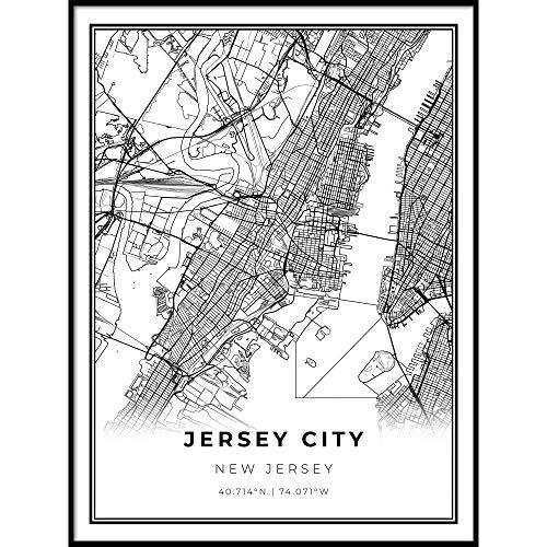 Skanndi Jersey City Map Print, New Jersey NJ USA Map Art Poster, Modern Wall Art, Street Map Artwork 9x11