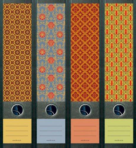 Ordnerrücken breit 4er Set Ordner Pattern III Muster Ordner Aufkleber Etiketten Deko 323