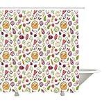 Yeuss Gemüse Duschvorhang, Doodle Stil Blumenkohl Zwiebel Pfeffer Broccoli Farm Zucchini Squash Illustration, Stoff Badezimmer Dekor Set mit Haken, Multicolor