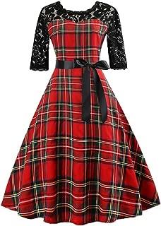 Women Vintage HalfSleeveg Scottish Plaid Lace Patchwork Evening Party Prom Swing Dress