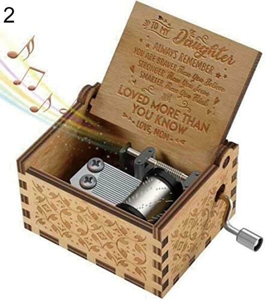 MJuan Clothing Hand Crank Wooden Engraved Music Box Mom Dad To Daughter Ornament Kids Toy Gift Mom To Daughter