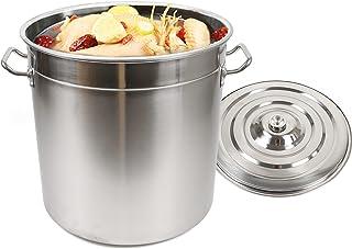 Seau en acier inoxydable 35 L/50 L/70 L Seau à lait, seau à champagne, seau à charbon avec couvercle en acier inoxydable M...