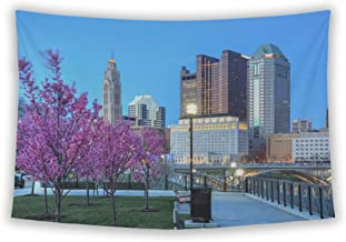 Wall Tapestry For Bedroom Hanging Art Decor College Dorm Bohemian, Red Buds In Bloom Along The Scioto River And Columbus Ohio Skyline At John W, 26x36