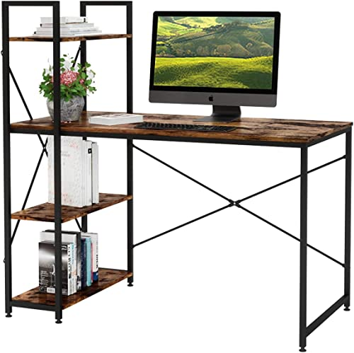 Bestier Computer Desk with Shelves 47 Inch, Reversible Writing Desk with Adjustable Storage Bookshelf Home Office Des...