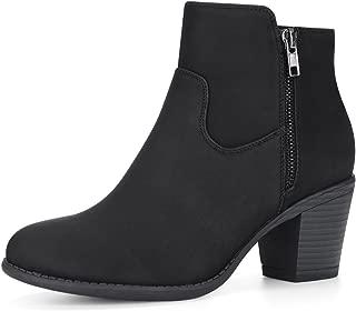 Allegra K Women's Low Chunky Heel Side Zipper Ankle Booties