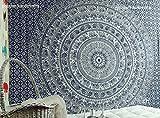 Popular Handicrafts Wandteppich, Elefant, Doppel-Tapisserie, Mandala-Wandteppich, Hippie-Wandbehang, Bohemian-Tagesdecke mit metallischem Glanz, Wandteppiche, Zoll Blau / Silber