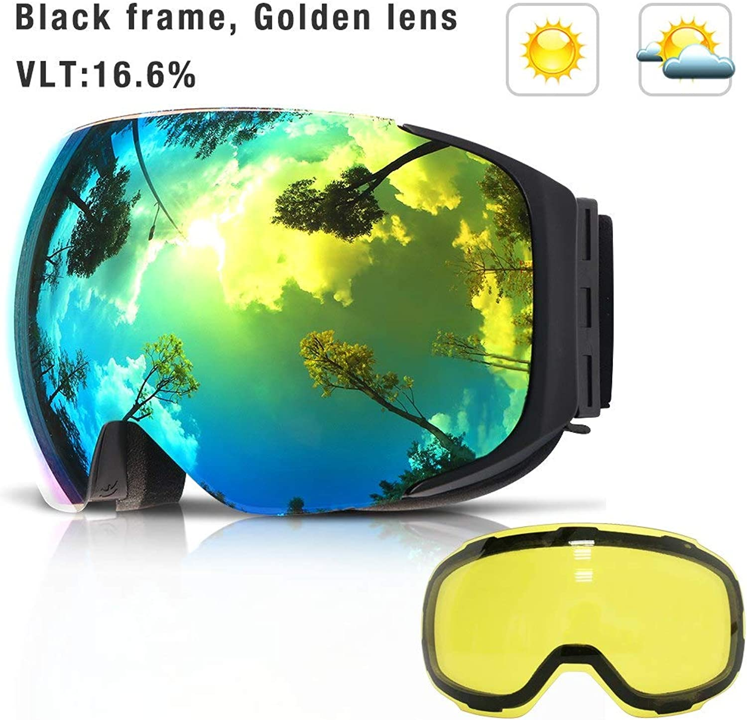UV400 Predection, Mirror Coating INF COPOZZ Magnetic Ski Goggles with Interchangeable Yellow Lens Anti-fog and UV400 Predection Snowboard Goggles for Adult Men Women