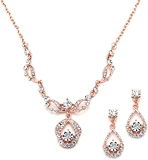 Mariell 14K Rose Gold Vintage Crystal Necklace and Earrings Jewelry Set for Prom, Bridal and Bridesmaids