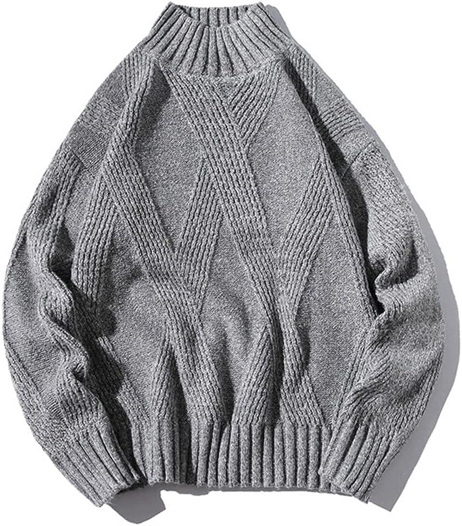 GHURFNP Turtleneck Men Sweater Autumn Winter Retro Solid Pullover Sweater Casual Loose Sweater