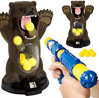 EKIMI Carnival Style Novelty Games Scream Hungry Bear Kids' Electronic Shooting Game Party Toys with Sound (A)