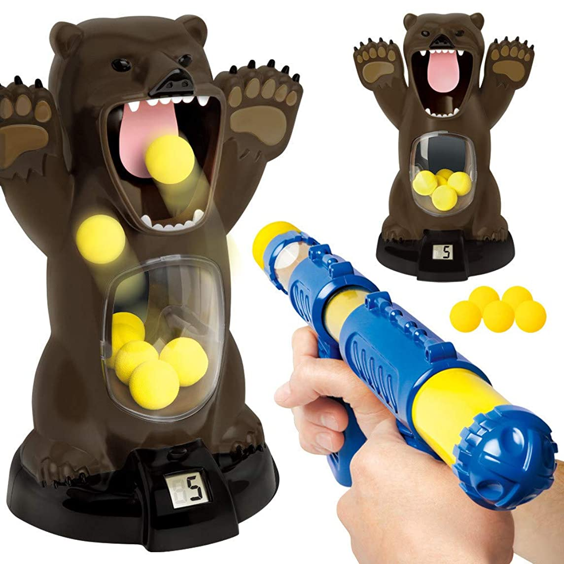 Ktyssp Novel Toy Scream Hungry Bear Electronic Shooting Game Party Toys with Sound for Kids