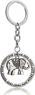 Retro Silver Jewelry Elephant Round Trust Love Hope Dream Pendant Key Chain Ring Family Friend Gift