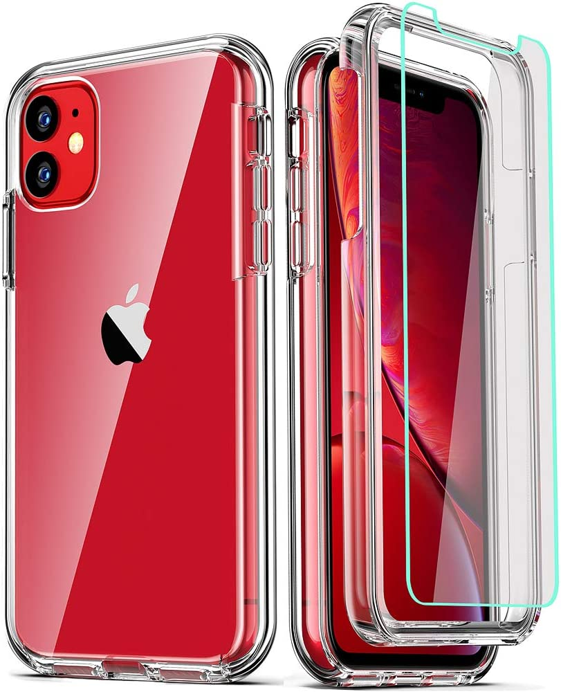 COOLQO Compatible with iPhone 11 Case, and [2 x Tempered Glass Screen Protector] for Clear 360 Full Body Coverage Hard PC+Soft Silicone TPU 3in1 Shockproof Protective Phone Cover