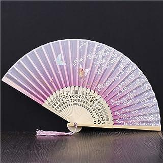 Abanico Plegable,La Mujer Ventilador De Bambú Borla Hueco Portátiles Ventilador Plegable Lavanda Flor De Cerezo Butterfly Ventilador Plegable,Adecuado Para Boda Regalo Dama Danza Ventilador Ventila